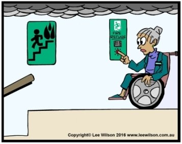 Cartoon of a lady using a Wheechair in Fire Refuge using Communications with Accessible Means of Egress Icon